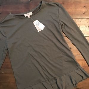 Philosophy Army Green Long Sleeve Top NWT